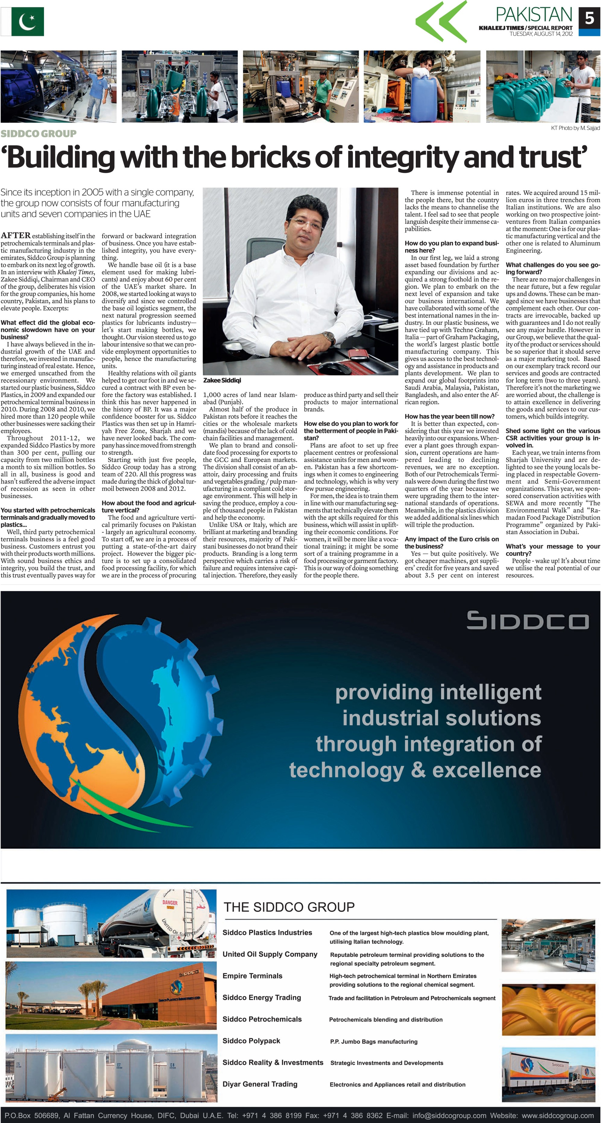 Khaleej Times-Siddco Article 14 Aug 2012